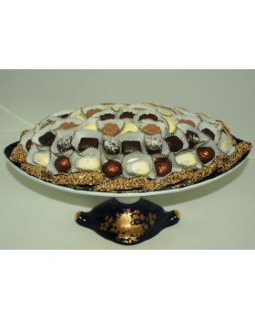 Chocolate Ceramic Oval Pedestal Dish